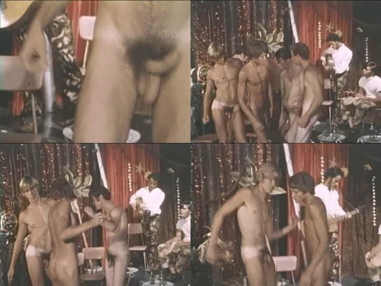 vintage male party with stripping boys