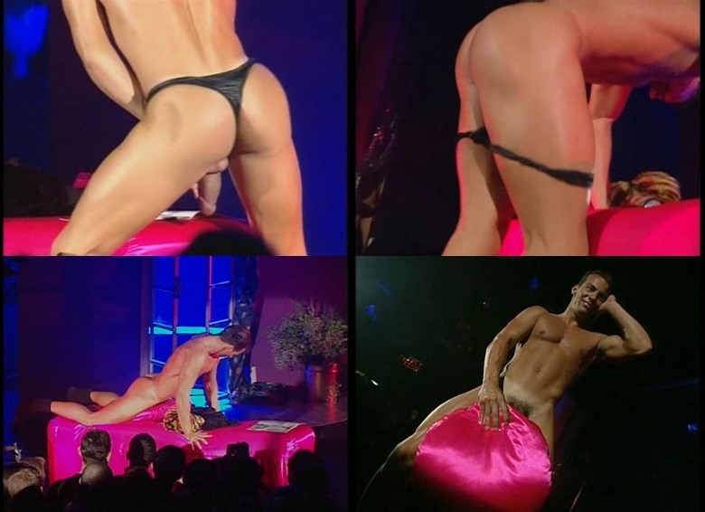sexy muscle men performing striptease