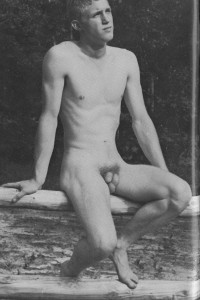 muscle guy naked in vintage male art
