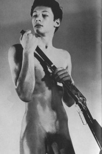 sexy naked boy with vintage gun