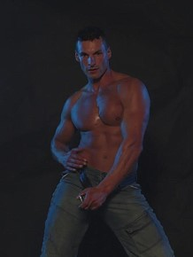 Male striptease with hard-on